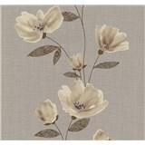 Vliesové tapety na stenu Blues kvety hnedé - POSLEDNÉ KUSY