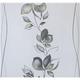 Vliesové tapety na stenu My Feels kvety zeleno-sivé na bielom podklade - POSLEDNÉ KUSY