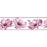 Samolepiace bordúry kvety ružové 5 m x 8,3 cm