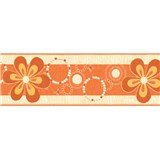 Samolepiace bordúry kvety oranžové 5 m x 6,9 cm