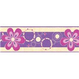 Samolepiace bordúry kvety fialové 5 m x 6,9 cm
