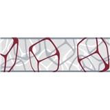Samolepiace bordúry štvorčeky bordó-strieborné 5 m x 6,9 cm