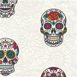 Vliesové tapety na stenu Boys & Girls lebky farebné na bielom podklade