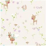 Papierové tapety na stenu Boys & Girls lesné zvieratká na bielom podklade