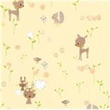 Papierové tapety na stenu Boys & Girls lesné zvieratká na žltom podklade
