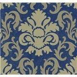 Vliesové tapety na stenu Carat zámocký vzor svetle zlatý na modrom podklade