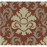 Vliesové tapety na stenu Carat zámocký vzor zlatý na červenom podklade