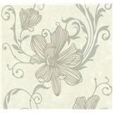 Vliesové tapety na stenu Carat kvety strieborné na svetlo hnedom podklade - POSLEDNÉ KUSY