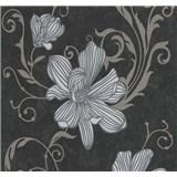 Vliesové tapety na stenu Carat kvety strieborné na čiernom podklade