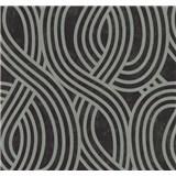 Vliesové tapety na stenu Carat moderný vzor strieborný na čiernom podklade
