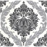 Luxusné vliesové tapety na stenu CARAT ornamentálny zámocký vzor čierno strieborný s trblietkami