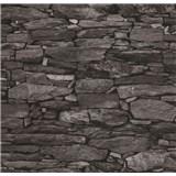 Vliesové tapety na stenu Collage kamenná stena sivo-čierna