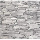 Vliesové tapety na stenu Collage kamenná stena sivá