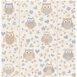 Vliesové  tapety na stenu Collection 2 sovy hnedo-modré