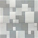 Vinylové tapety na stenu Collection štvorce sivé/biele/strieborné