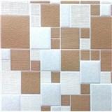 Vinylové tapety na stenu COLLECTION štvorce hnedé/béžové/strieborné