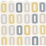 Vinylové tapety na stenu Collection retro oválky horčicové, modré, béžové