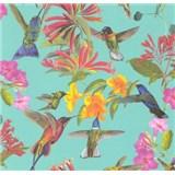 Vliesové tapety na stenu kvety a vtáky na zelenom podklade