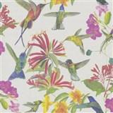 Vliesové tapety na stenu kvety a vtáky na béžovom podklade