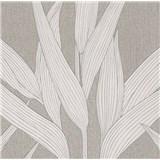Vliesové tapety na stenu Hygge bambusové listy krémové s bielimi konturami