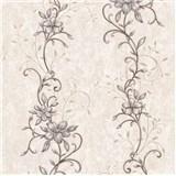 Vliesové tapety na stenu kvetinový vzor hnědý se zlatými stonky