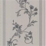 Vliesové tapety na stenu florálny vzor na sivom vzorovanom podklade