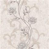 Vliesové tapety na stenu IMPOL kvety na krémovom štruktúrovanom podklade