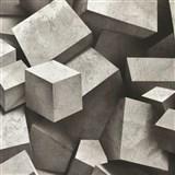 Vliesové tapety na stenu 3D kocky sivo-čierne