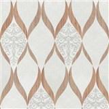 Luxusné vliesové tapety na stenu G.M.Kretschmer Deluxe kašmírový vzor medeno-krémový