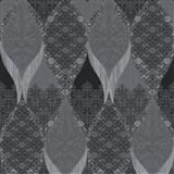 Luxusné vliesové tapety na stenu G.M.Kretschmer Deluxe kašmírový vzor čierno-sivý