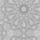 Luxusné vliesové tapety na stenu G.M.Kretschmer Deluxe lesklý strieborný vzor na sivom podklade