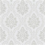 Vliesové tapety na stenu IMPOL zámocký vzor strieborno-sivý na leskle bielom podklade