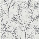 Vliesové tapety na stenu Instawalls vetvičky čierno-sivé