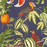 Vliesové tapety na stenu Natural Living ananasy, papagáje, listy na modrom podklade