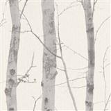 Vliesové tapety na stenu Natural Living kmeny stromov sivé s trblietkami