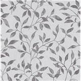 Vliesové tapety na stenu Collection lístky strieborno-sivé