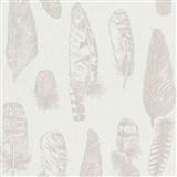 Vliesové tapety na stenu Scandinja perie hnedé na krémovom podklade