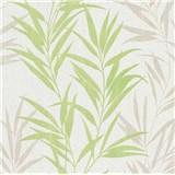 Vliesové tapety na stenu Mix Up bambusové listy zelené a biele