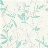 Vliesové tapety na stenu Natural Living popínavé vetvičky s lístkami aqua