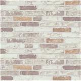 Vliesové tapety na stenu Imitations tehla béžovo-biela