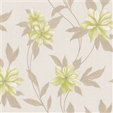 Vinylové tapety na stenu Spring kvety zelené s hnedými stonkami a lístkami
