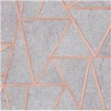 Vliesové tapety na stenu Exposure vápencové dlaždice sivé s medenými švami
