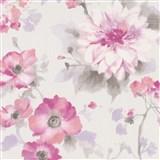 Vliesové tapety na stenu G.M.K. Fashion for walls kvety ružovo-fialové na bielom podklade