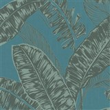 Vliesové tapety na stenu Felicita listy čierno-zelené na tyrkysovom podklade