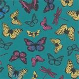 Vliesové tapety na stenu Felicita motýle farební na zelenom podklade