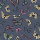 Vliesové tapety na stenu Felicita motýle farební na modrom podklade