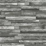 Vliesové tapety na stenu Felicita drevený obklad s 3D efektom sivo-čierne