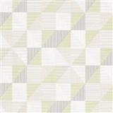 Vliesové tapety na stenu IMPOL Finesse trojuholníky zeleno-sivé