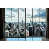 Vliesové fototapety výhľad z okna na Manhattan rozmer 375 cm x 250 cm