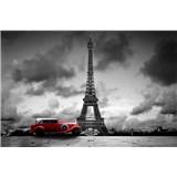 Vliesové fototapety retro auto v Paríži rozmer 375 cm x 250 cm